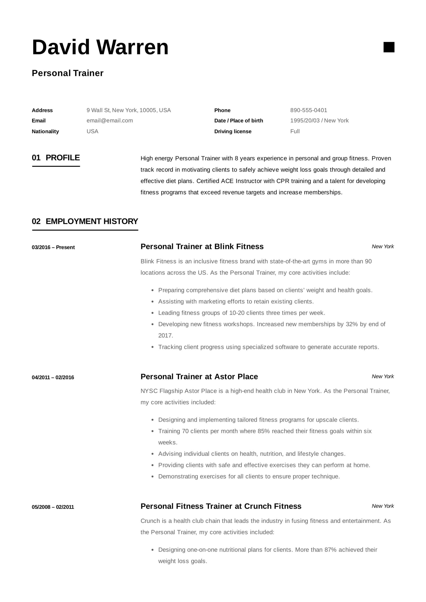 personal trainer resume job examples format uber driver fantastic templates highly Resume Personal Trainer Resume Format