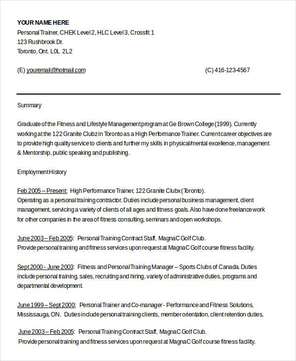 personal trainer resume templates pdf free premium format certified highly organized Resume Personal Trainer Resume Format