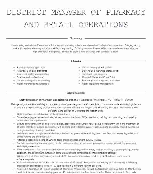 pharmacy district manager resume example rite aid north scituate rhode skills caretaker Resume District Manager Skills Resume