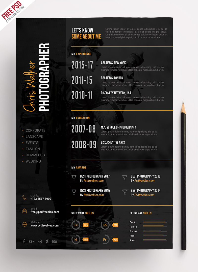 photographer resume cv template psdfreebies free templates with photograph preview jsfirm Resume Free Resume Templates With Photograph