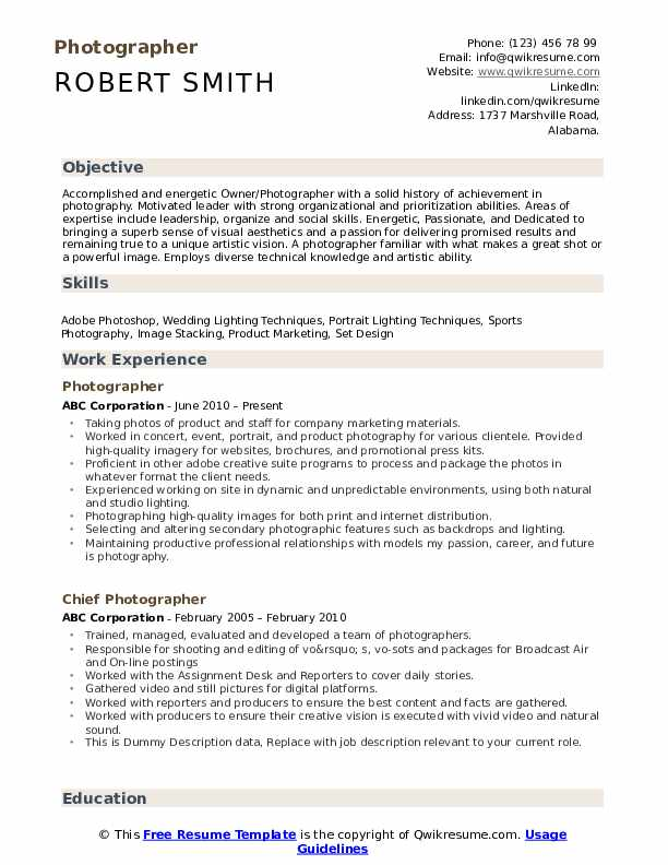 photographer resume samples qwikresume creative templates pdf job application cover Resume Creative Photographer Resume Templates