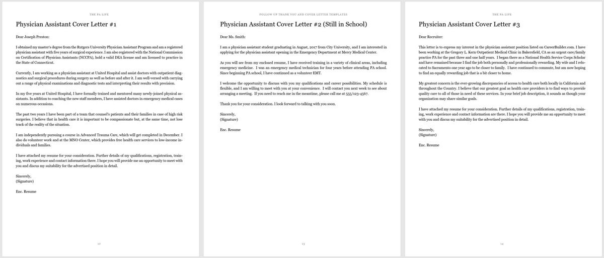 physician assistant cover letter and thank you follow up templates for resume template Resume Thank You Letter For Resume Template