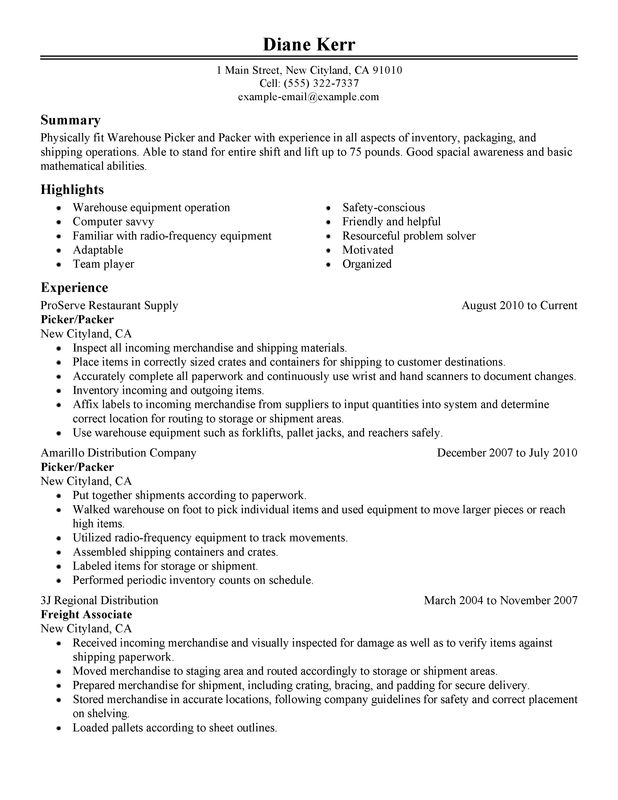 picker and packer resume examples created by pros myperfectresume entry level warehouse Resume Entry Level Warehouse Resume