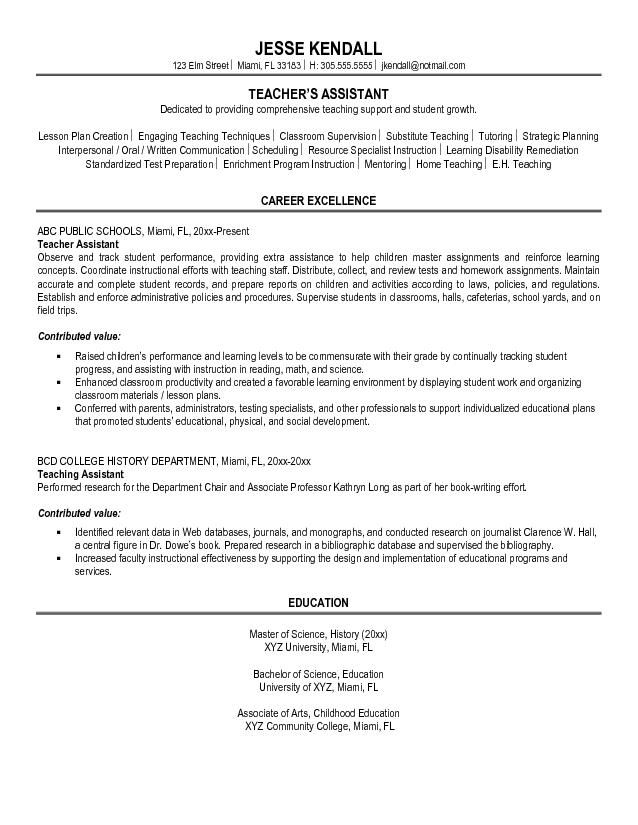 pin di resume career termplate free objective for teacher assistant customer service Resume Objective For Resume For Teacher Assistant