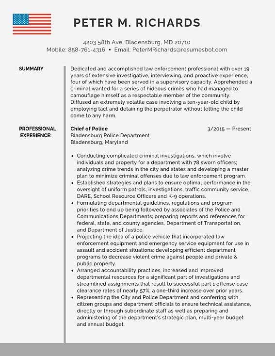 police chief resume samples templates pdf resumes bot example of for officer sample Resume Example Of Resume For Police Officer
