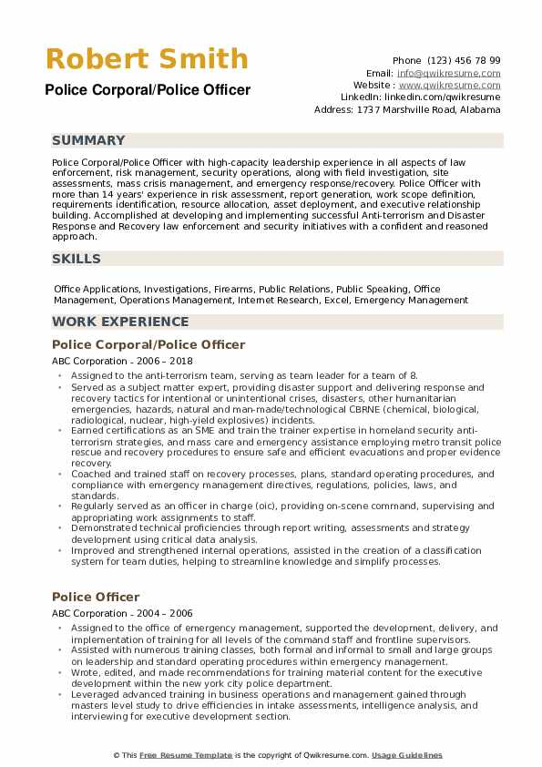 police officer resume samples qwikresume writing services pdf uptowork for free Resume Police Resume Writing Services