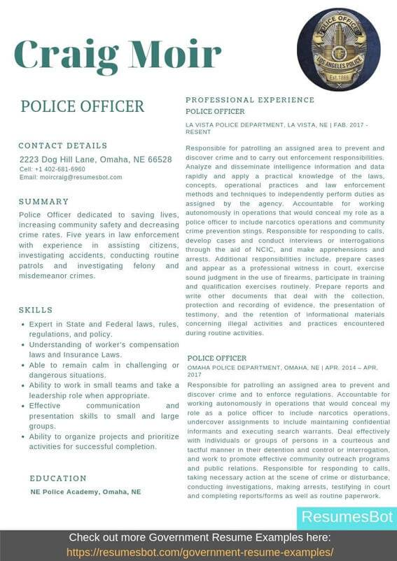 police officer resume samples templates pdf resumes bot example of for professional Resume Example Of Resume For Police Officer