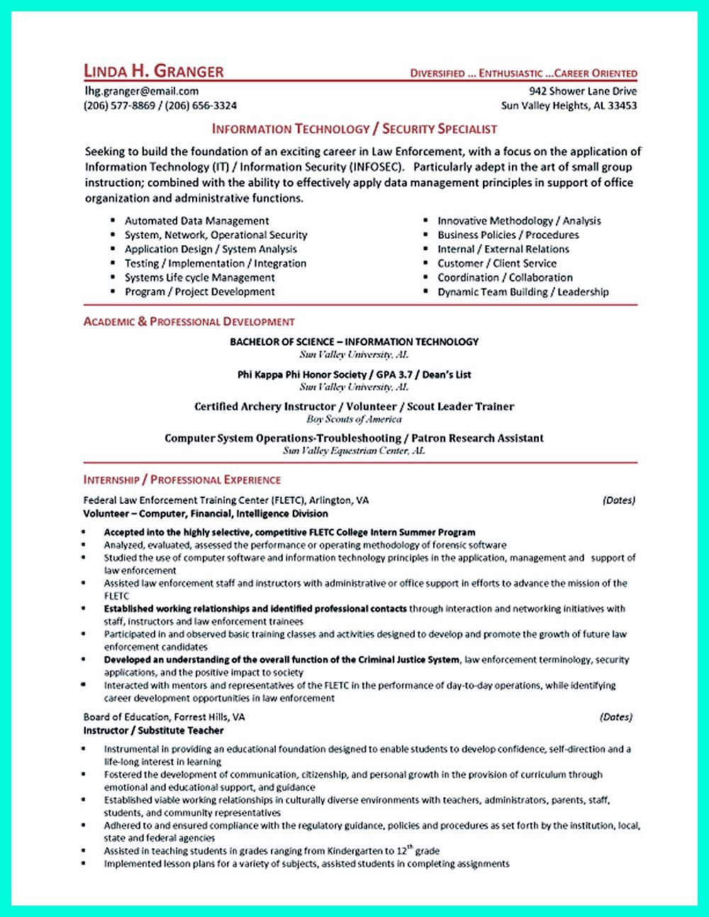 powerful cyber security resume to get hired right away student examples sample for Resume Sample Resume For Cyber Security