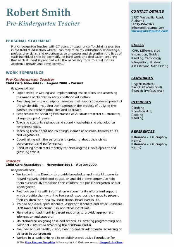 pre kindergarten teacher resume samples qwikresume skills pdf special on examples writing Resume Kindergarten Teacher Skills Resume