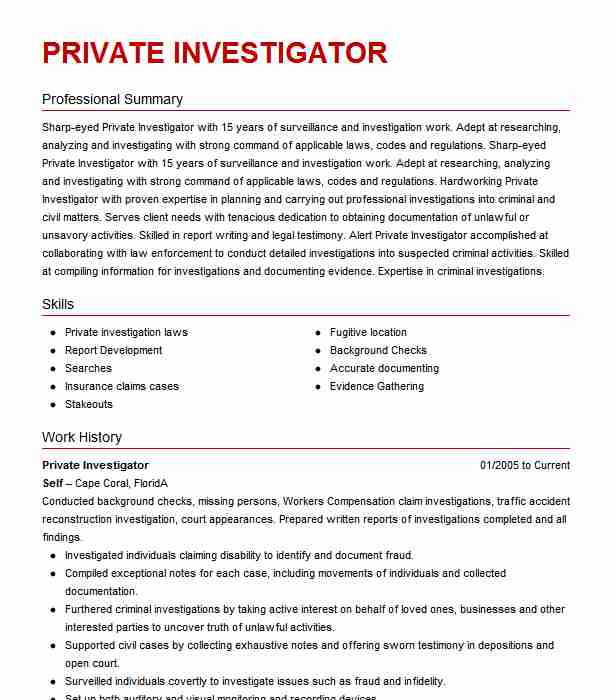 private investigator resume example resumes misc livecareer microsoft medical assistant Resume Private Investigator Resume