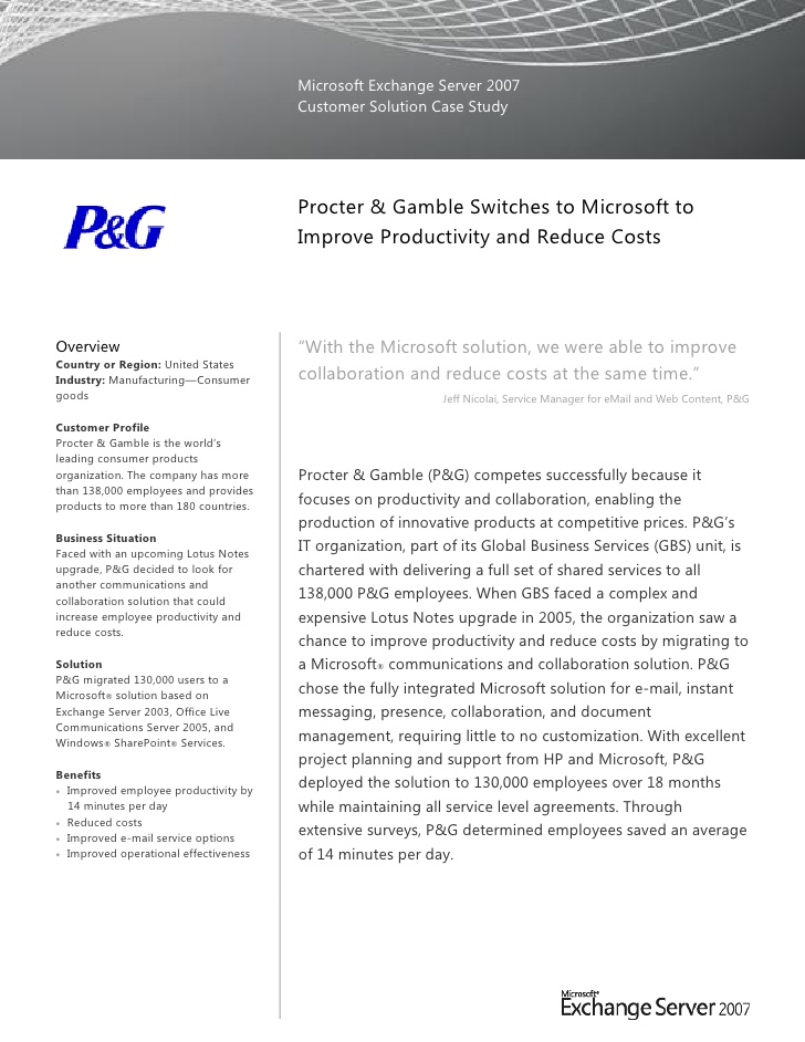 procter gamble switches to microsoft improve productivity and re resume reduce costs Resume Procter And Gamble Resume