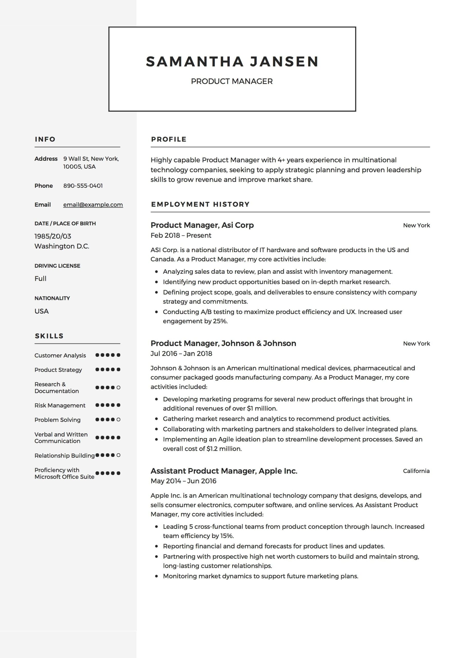 product manager resume sample template example cv formal design examples guide legal Resume Product Manager Resume Template