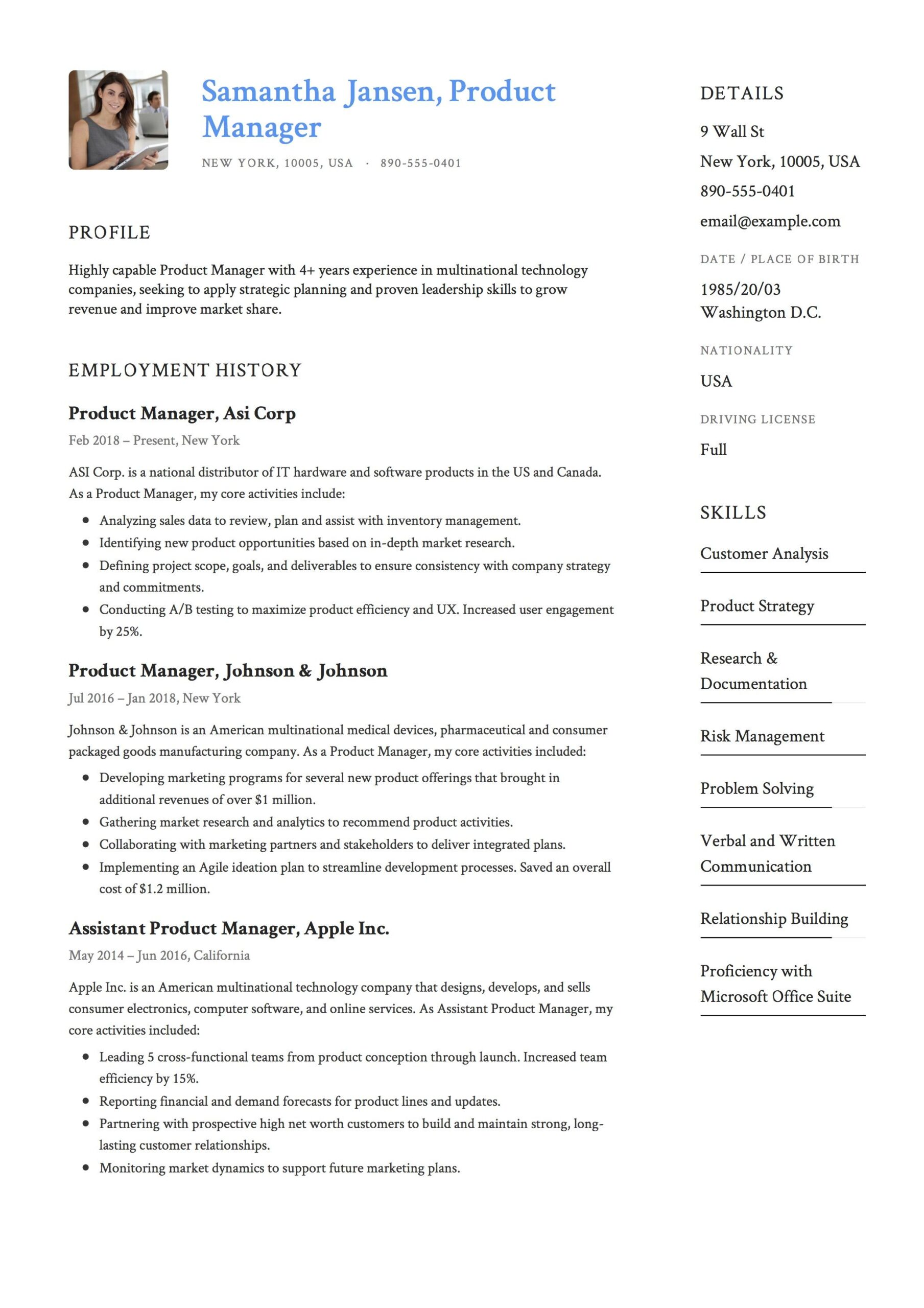 product manager resume sample template example cv formal design examples guide the Resume Product Manager Resume Template