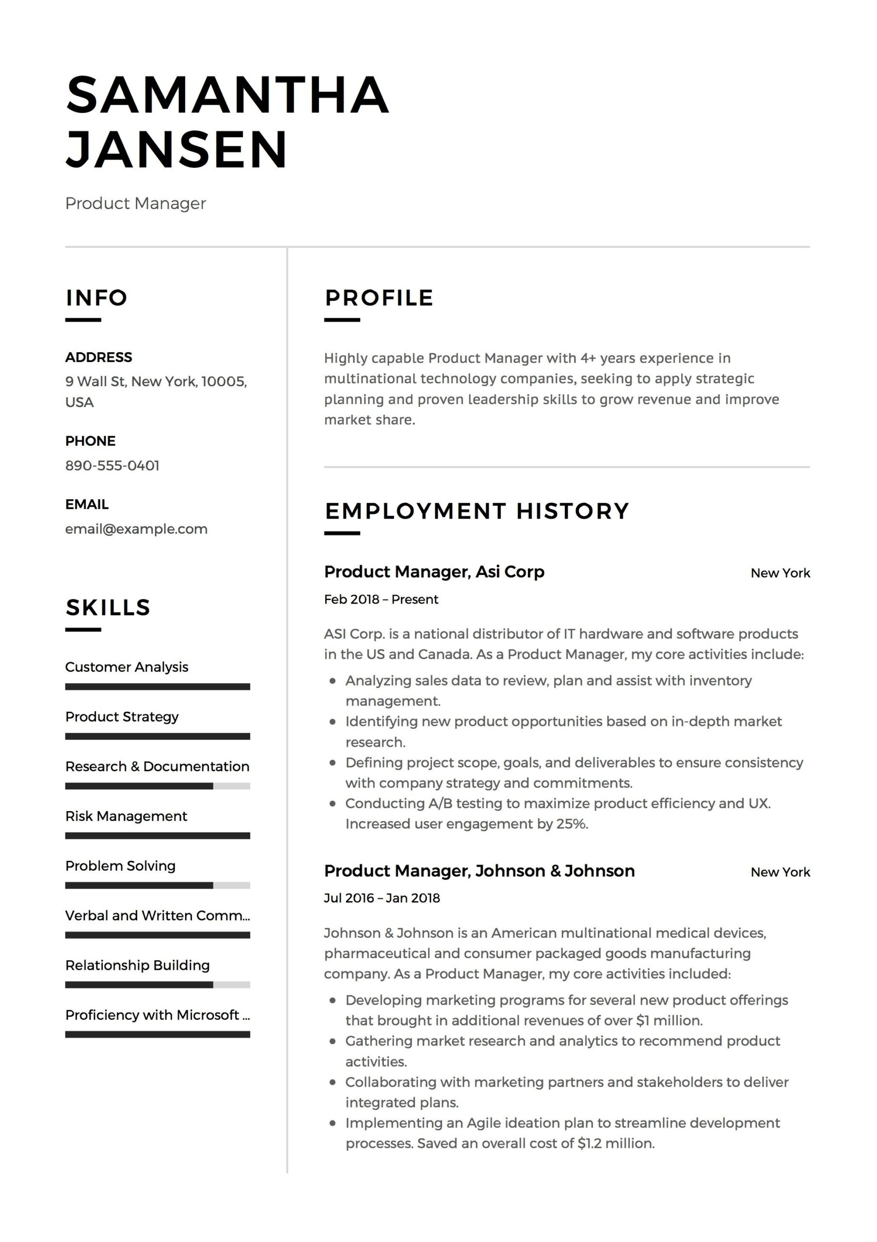 product manager resume sample template example cv formal design examples job student Resume Product Manager Resume Template
