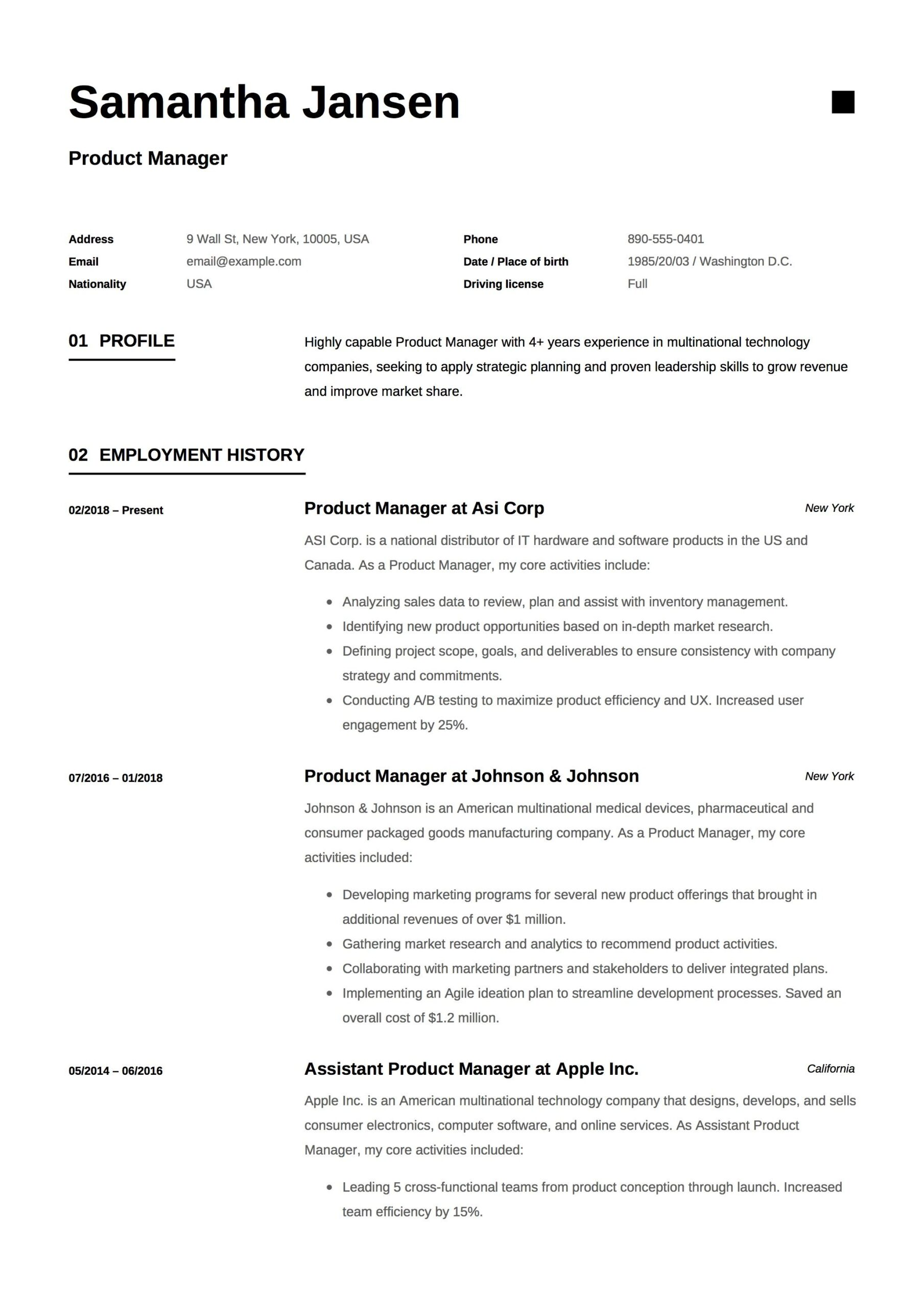 product manager resume sample template example cv formal design server guide ts analyst Resume Product Manager Resume Template