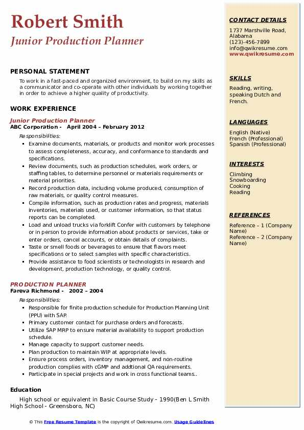 production planner resume samples qwikresume planning and control engineer pdf swiss Resume Production Planning And Control Engineer Resume Samples
