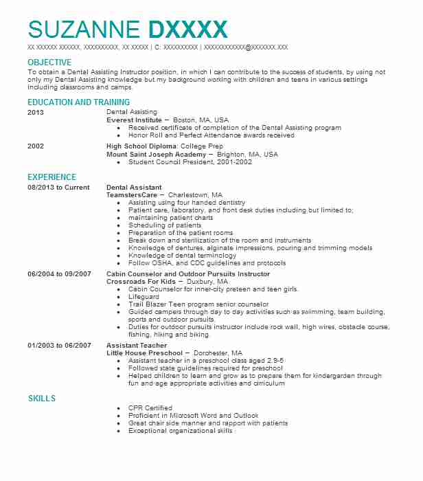 professional dental assistant resume examples dentistry livecareer builder perfect format Resume Dental Assistant Resume Builder