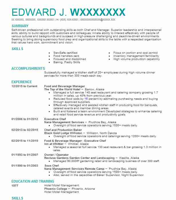 professional food and beverage manager resume examples service livecareer customer rep Resume Food & Beverage Manager Resume