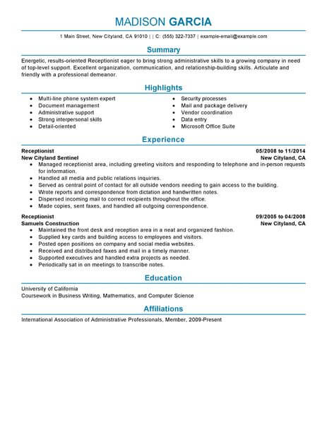 professional receptionist resume examples administrative livecareer front office Resume Front Office Executive Fresher Resume