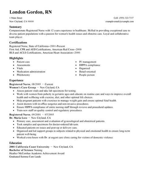 professional registered nurse resume examples nursing livecareer new template healthcare Resume New Registered Nurse Resume Template