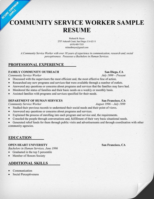 professional resume for social servic use the correct work format community service Resume Community Service Resume