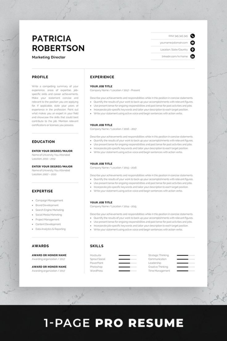 professional resume template modern one cv etsy references mortgage auditor referral Resume One Page Resume Template