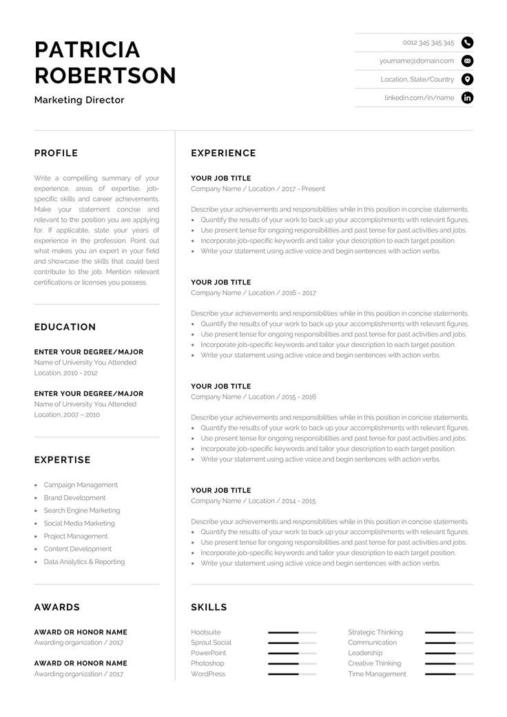 professional resume template modern one cv etsy words good examples vs two best junior Resume One Page Resume Vs Two Page