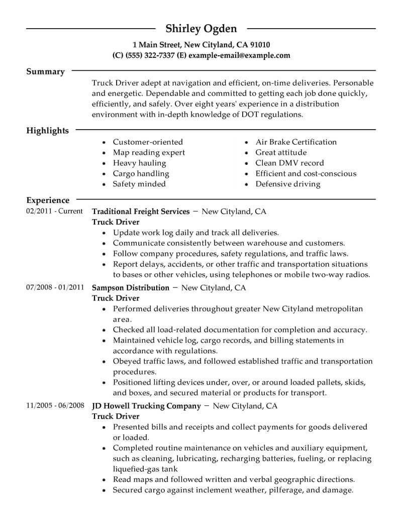 professional truck driver resume examples driving livecareer objective transportation Resume Truck Driving Resume Objective Examples