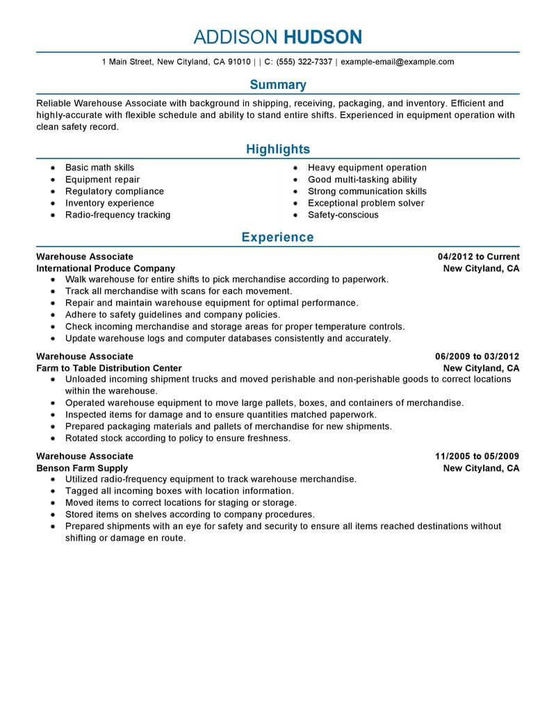 professional warehouse worker resume examples inventory management livecareer duties Resume Warehouse Duties Resume