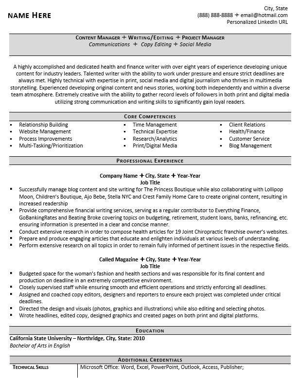 professional writer and editor resume example guide examples of core competencies on Resume Examples Of Core Competencies On Resume
