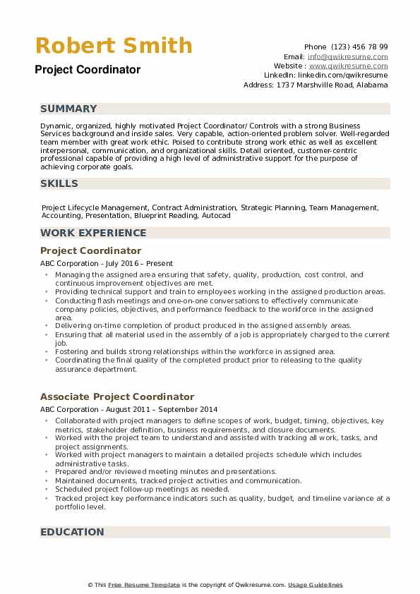 project coordinator resume samples qwikresume oriented pdf labor and delivery nurse Resume Project Oriented Resume