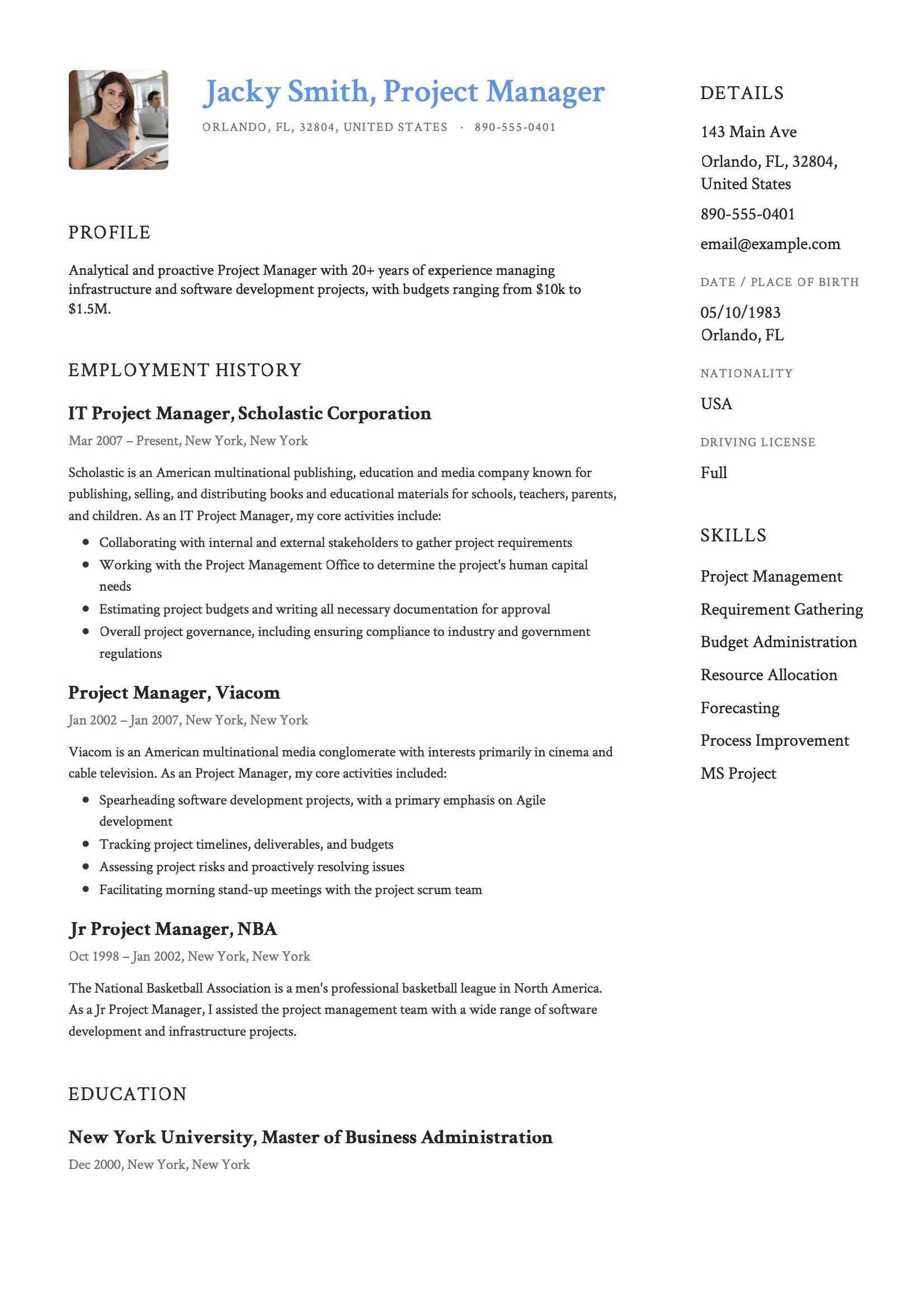 project manager resume example management software development examples marketing Resume Software Development Manager Resume Examples 2020