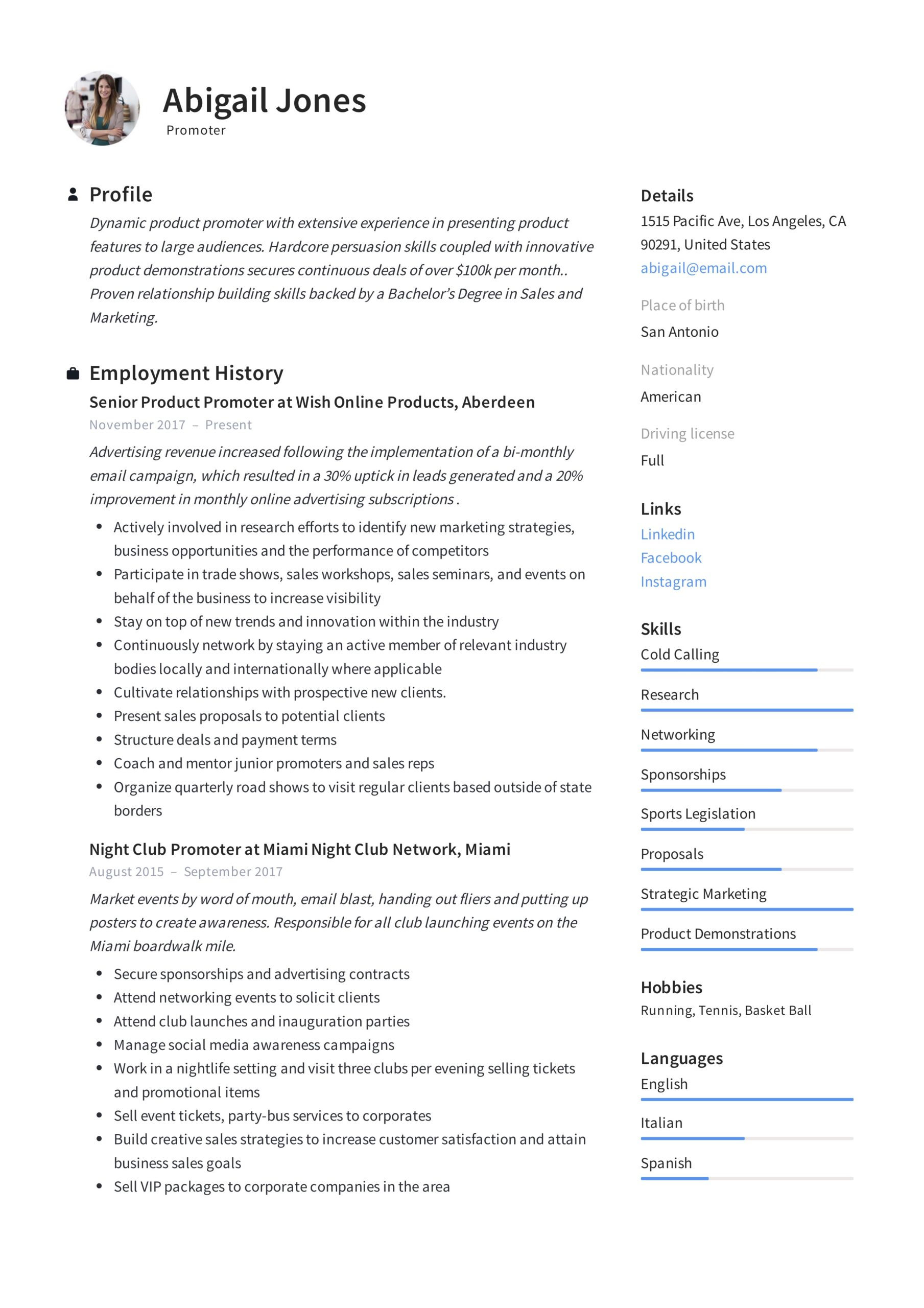 promoter resume example writing guide samples pdf short and engaging pitch about yourself Resume Short And Engaging Pitch About Yourself Examples For Resume