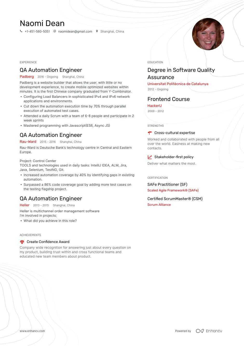 qa automation resume example for enhancv engineer template objective promotion examples Resume Automation Engineer Resume Template