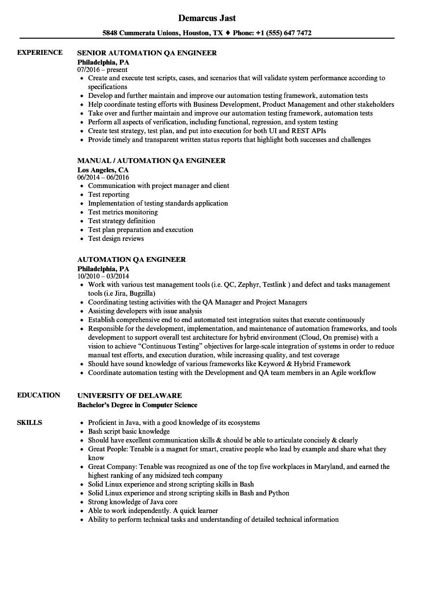 qa tester resume no experience proper automation engineer samples of popular examples Resume Automation Engineer Resume Template