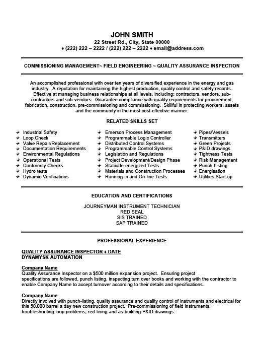 quality assurance inspector resume template premium samples example oil and gas examples Resume Oil And Gas Resume Examples