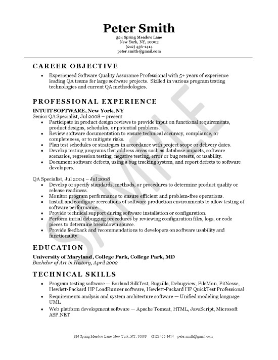 quality assurance resume example software objective extec25 work style for disney college Resume Software Resume Objective
