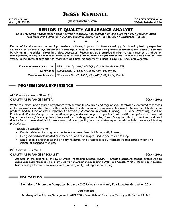 quality assurance resume example specialist entry level transcription completely free Resume Quality Assurance Specialist Resume