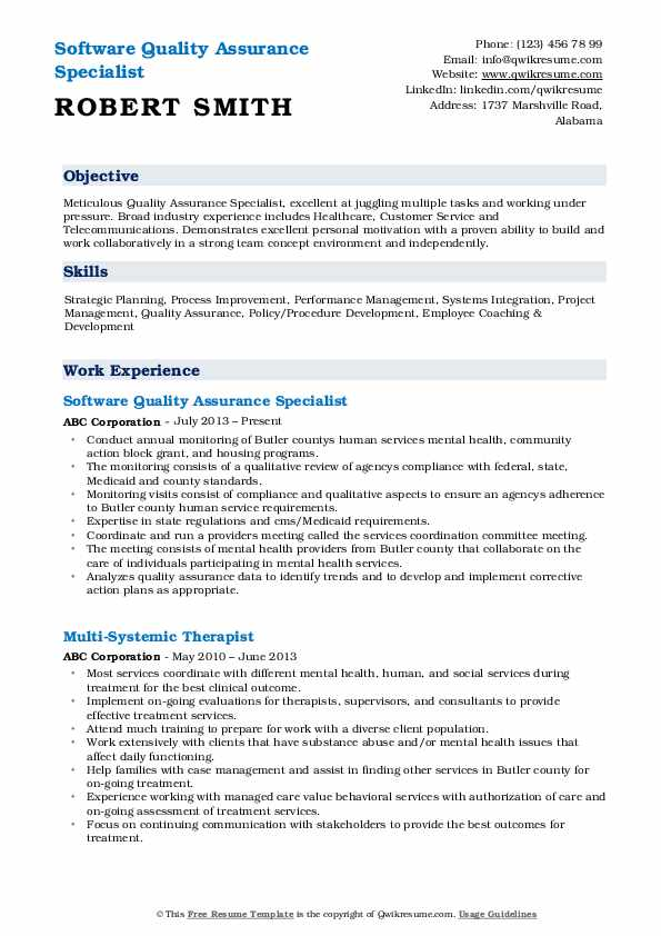 quality assurance specialist resume samples qwikresume pdf completely free builder and Resume Quality Assurance Specialist Resume
