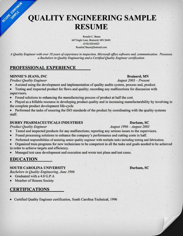 quality engineer resume sample template engineering examples objective sailing for Resume Quality Engineer Resume Objective
