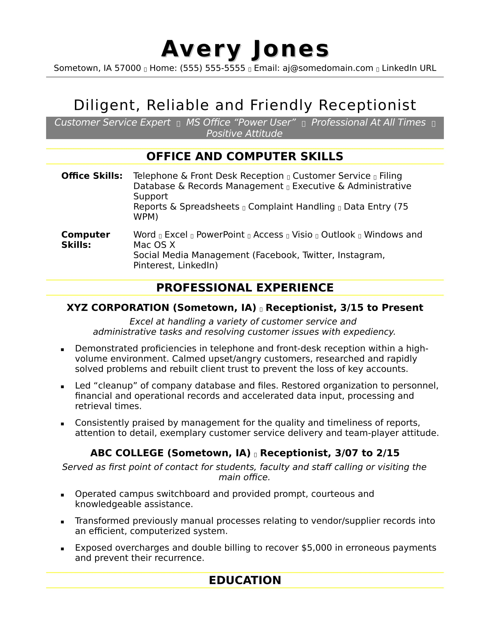 receptionist resume sample monster excel experience cath lab manager controller objective Resume Sample Resume Excel Experience