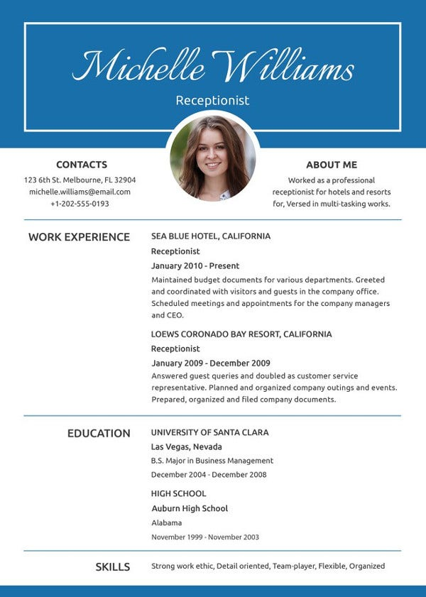 receptionist resume template free word pdf document premium templates front office Resume Front Office Executive Fresher Resume