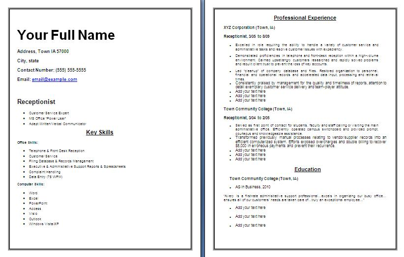 receptionist resume templates free printable cv front office executive fresher template Resume Front Office Executive Fresher Resume