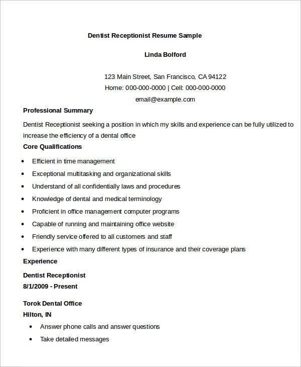 receptionist resume templates pdf free premium front office executive fresher dentist Resume Front Office Executive Fresher Resume