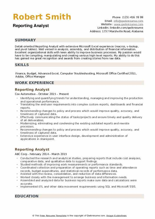 reporting analyst resume samples qwikresume sample excel experience pdf computer skills Resume Sample Resume Excel Experience