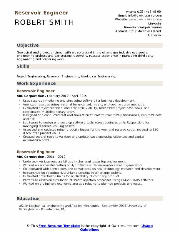 reservoir engineer resume samples qwikresume oil and gas examples pdf academic for Resume Oil And Gas Resume Examples