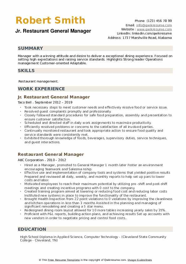 restaurant general manager resume samples qwikresume skills for pdf aux now cancel Resume Skills For General Manager Resume