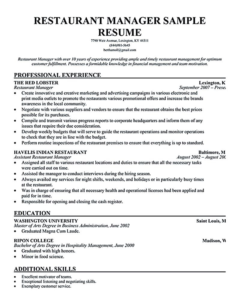 restaurant manager resume ease anyone is seeking for job related to managing man Resume Restaurant Manager Job Resume