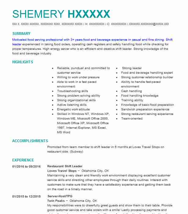 restaurant shift leader resume example resumes livecareer retail cover letter for graphic Resume Retail Shift Leader Resume