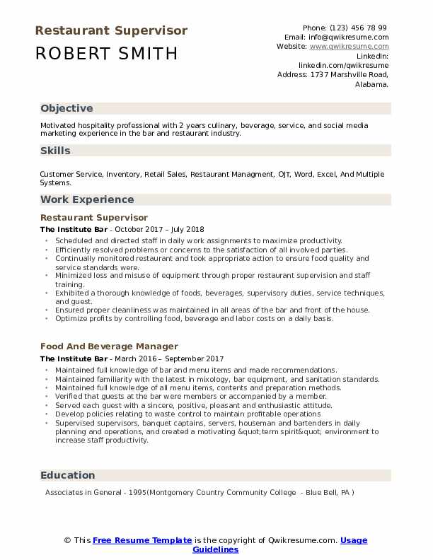 restaurant supervisor resume samples qwikresume with ojt experience pdf for accounting Resume Resume With Ojt Experience